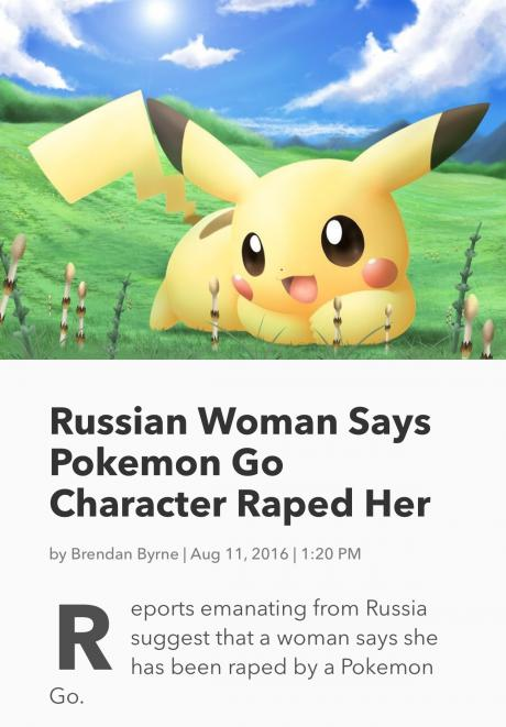 Woman claims to have been raped by a Pokemon from Pokemon GO