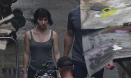 Scarlett Johansson in costume on set of Ghost in the Shell